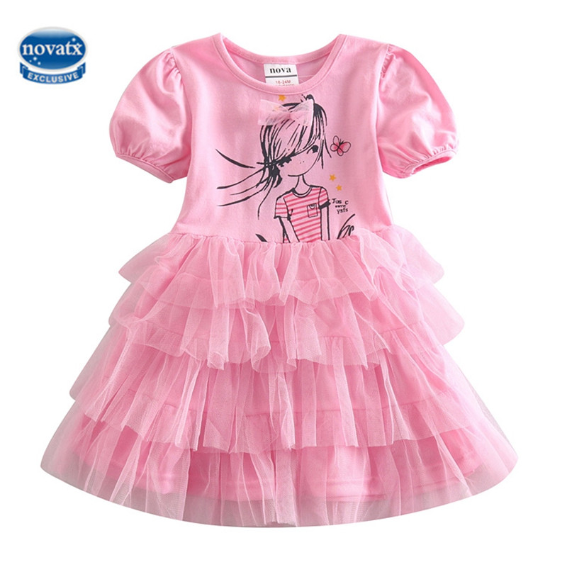 NOVATX girls dress kids clothes lace princess dress casual children clothing summer short sleeve bobo choses girls trolls frocks girls europe and the united states children s wear red princess long sleeve princess dress child kids clothing red bow lace