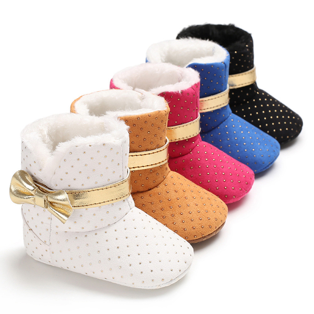 Detail Feedback Questions about Baby Shoes Girl Soft Sole Booties White Bow  Wave Point Snow Boots Winter Toddler Warm Solid Shoes for Baby Girl Anti  slip ... 4e1ad47d77eb