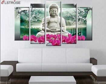 CLSTROSE-peinture à lhuile de bouddha   5 panneaux, Art mural de bouddha moderne, Art contemporain, Religion de bouddha, photos murales de maison, bon marché