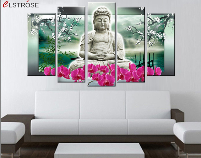 Clstrose 5 Panels Buddha Wall Art Modern Painting Contemporary Religion Oil