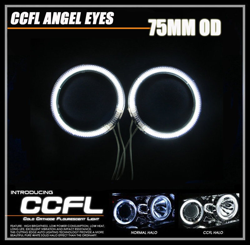 2PCs/Pair 75MM CCFL Halo Ring Headlight For Auto Motorcycle Car CCFL Angel Eyes Kit White 2 75MM Rings And 1 Inverter for honda odyssey 4th g rb3 rb4 chassis 2008 present excellent ultrabright headlight illumination ccfl angel eyes kit halo ring