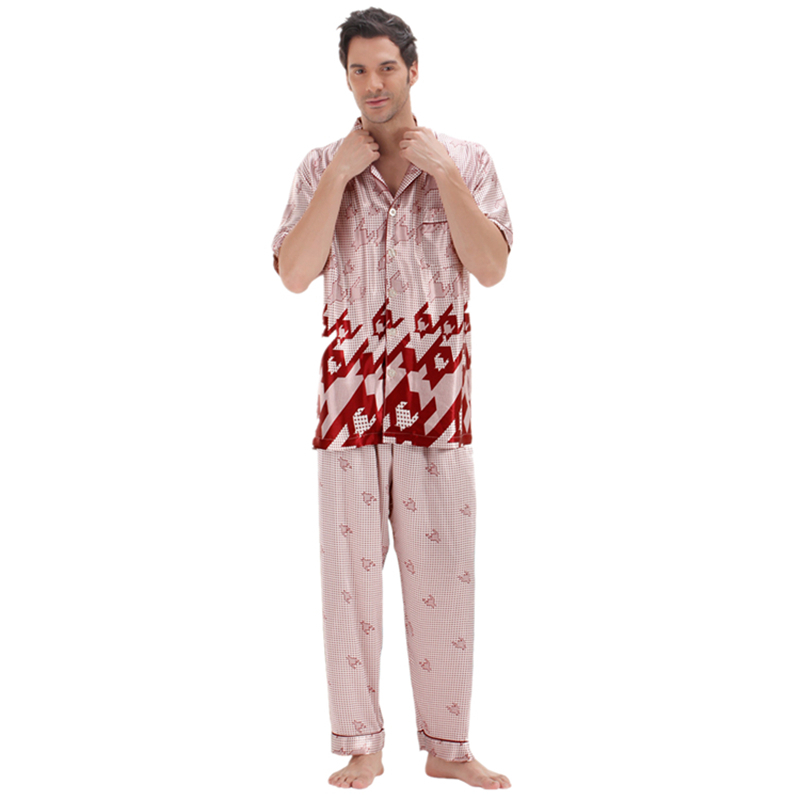 Satin Pajamas Sleepwear Silk Summer Short For Men PJS Luxury