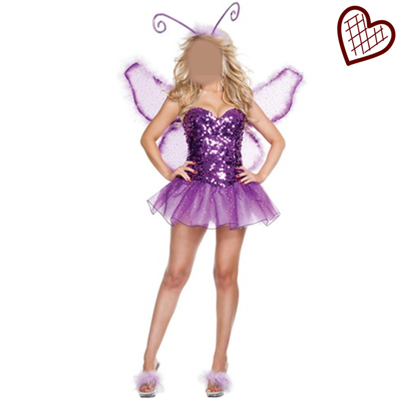 New Halloween Purple Purple Princess Dress Strapless Costumes Corset Insect Monarch butterfly Costume Flower Fairy Costumes