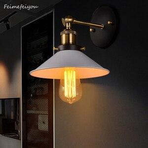 Image 1 - Feimefeiyou Lámpara de pared de cubierta pequeña de hierro antiguo europeo, lámpara de pared creativa con personalidad de pueblo, iluminación retro de hierro en blanco y negro