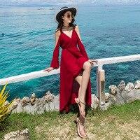 Snordic Deep V Neck Long Sleeve Sexy Beach Dress Women 2018 Summer Chiffon Long Dress Strapless Dress Female red Vestidos