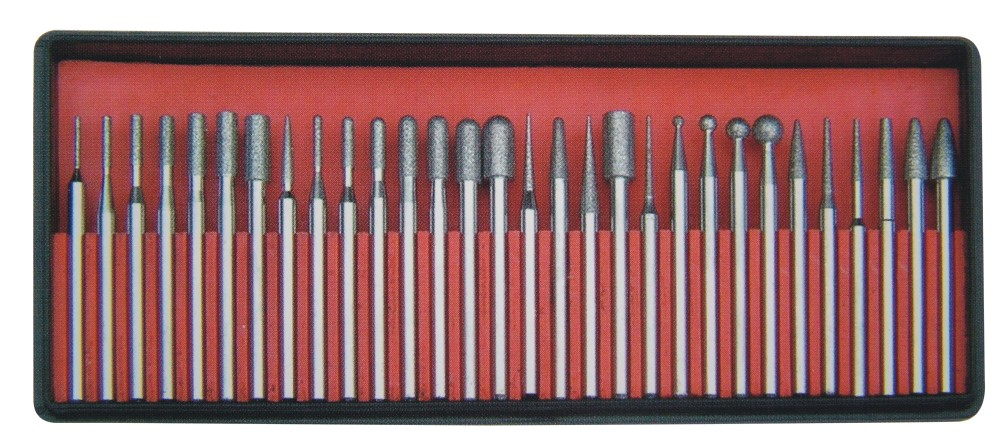 30pc Electroplated Diamond Grinding Mounted Point Set