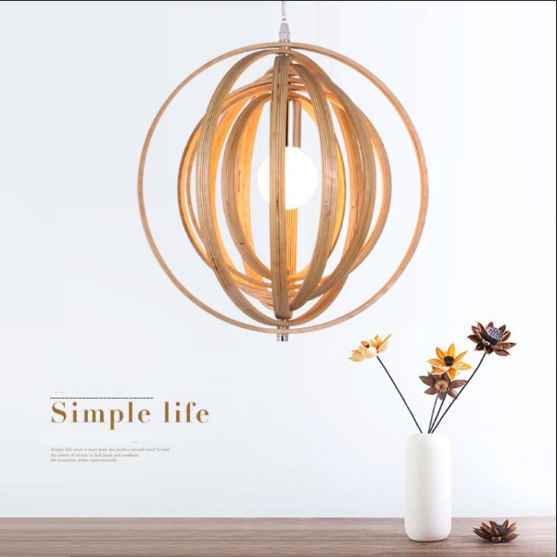 Modern  lamps pendant lights diameter 40cm multilayer ball Wood lamp restaurant bar coffee dining room LED hanging light fixture creative modern lamps pendant lights wood lamp restaurant bar coffee dining room led hanging light fixture wooden