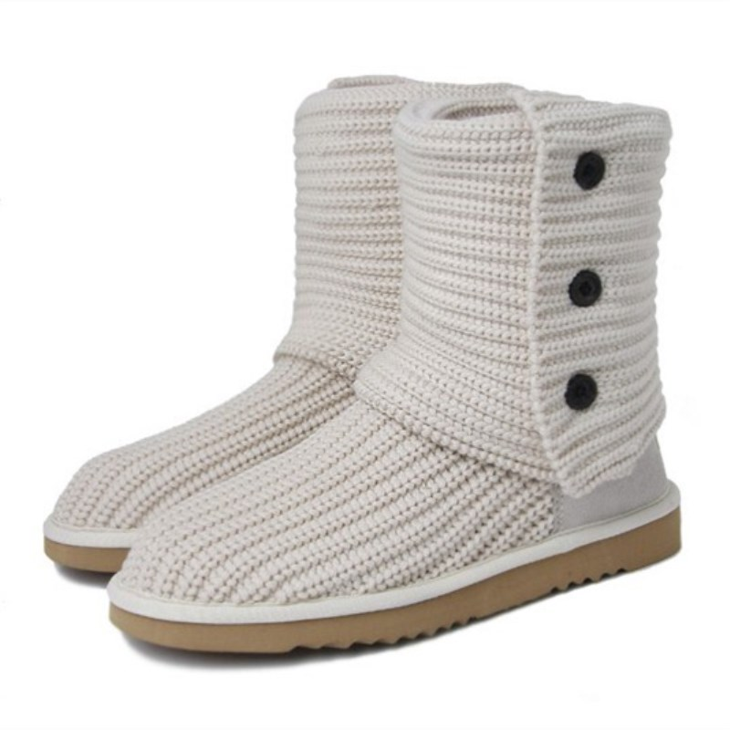 2018 new fashion Australian ugs wool boots 3 button short boots knitted thick wool snow boots brand IVG with gift