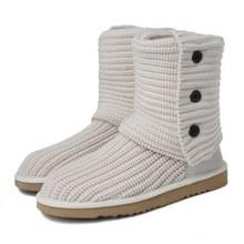 2018 новые модные австралийские угги шерстяные ботинки 3 кнопки короткие сапоги вязаные густая шерсть зимние сапоги бренд IVG с подарком