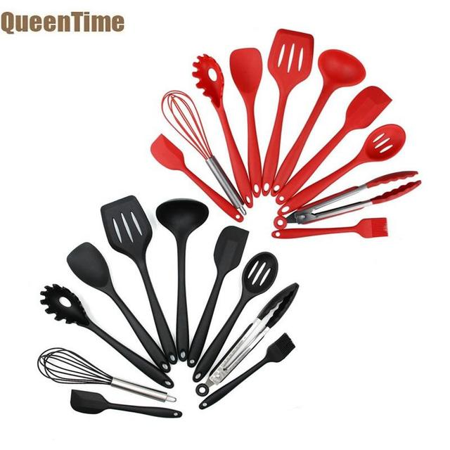 QueenTime 10 PCS Silicone Cooking Utensil Set Stainless Steel Kitchen Gadgets Soup Ladle Slotted Spatula Salad Spoon Food Tongs
