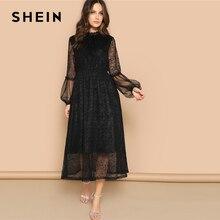 Shein黒ホタテモックネック薄手バルーン袖のレースのドレス2019春aラインスタンド襟ハイウエストパフスリーブドレス