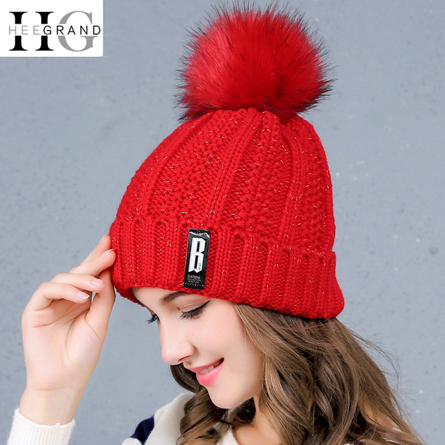 HEE GRAND Winter Hat for Women Red Christmas Hats For Man 2017 Pompom Hat  Knitted Beanies Flocking Beanie Caps Dropship PMT088 fb680e2488b5