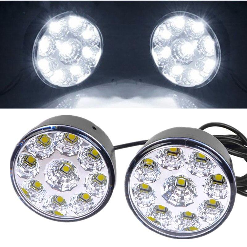 10pair Waterproof Led Drl Daytime Running Light Fog Lamp White 9 LED SMD Day Lamps Car