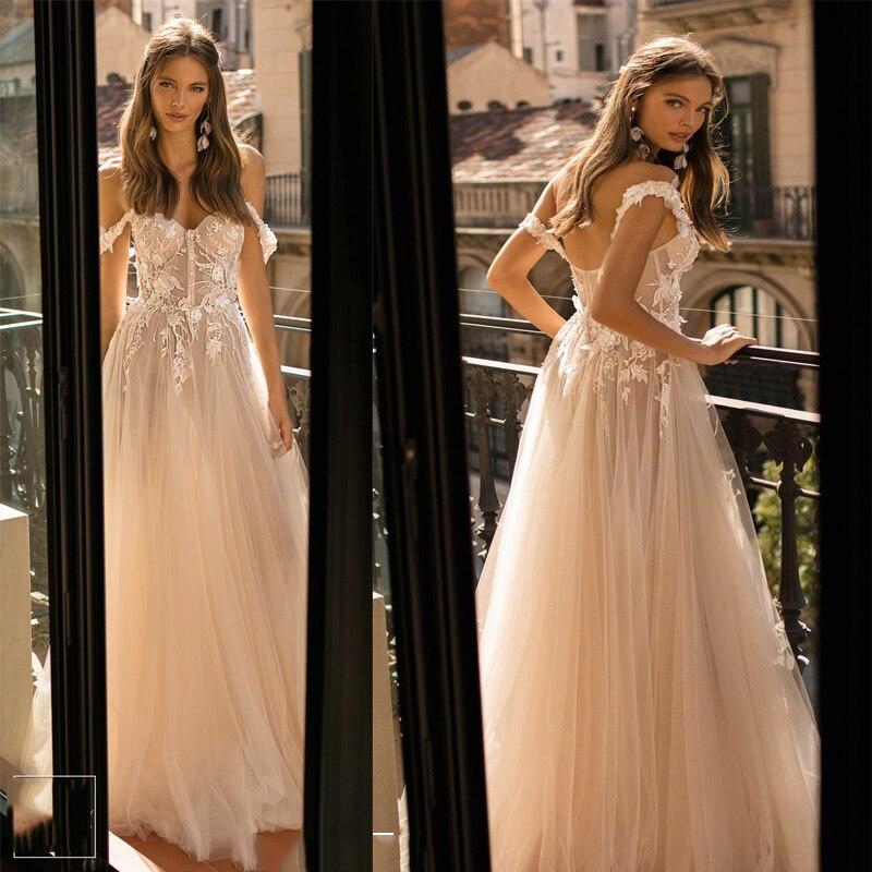 Sweetheart Wedding Dress 2019 Off The Shoulder 3D Flowers Tulle A-line Lace Bride Gowns Vestidos De Novia Princess Wedding Gowns