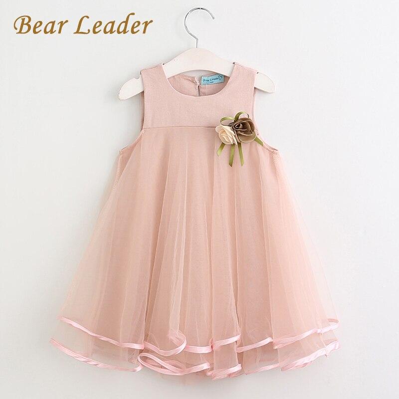Bär Führer Mädchen Kleid 2018 Marke Prinzessin Kleid Ärmellose Appliques Floral Design für Mädchen Kleidung Party Kleid 3-7Y Kleidung