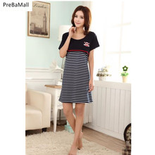 Maternity Nursing Pyjamas For Pregnancy Woman Short Sleeve Breastfeeding Dresses Stripped Nightgown Sleepwear  D0014