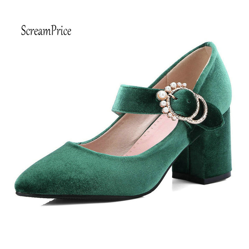 Women Mary Jane Thick High Heels Fashion Pointed Toe Buckle Party Dress Pumps Shoes mary jane sterling u can algebra i for dummies