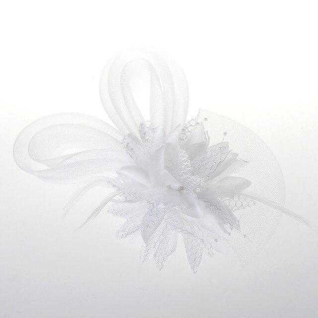 Tulle élégant avec plumes Imitation perles voiles belle 11 couleurs disponibles fleur de mariée mariée chapeaux de mariage pour les femmes