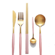 Rose Gold Tableware Dessert Spoon Main Fork Chopsticks Couverts Acier Inoxydable Portatil Cubiertos Dorados Cuillere Faqueiro 15