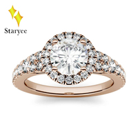Certified Moissanite Engagement Ring 1ct Round Moissanite Lab Grown Diamond Wedding Halo Ring For Women 14K Rose Gold Jewelry