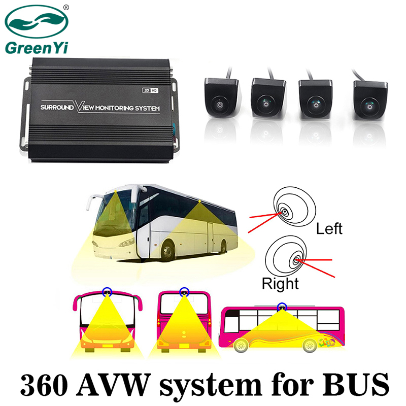GreenYi 3D HD 360 Degree Surround View Seamless Camera System for Truck Bus with 4PCS Fish-eye Rear Front Right Left Cameras