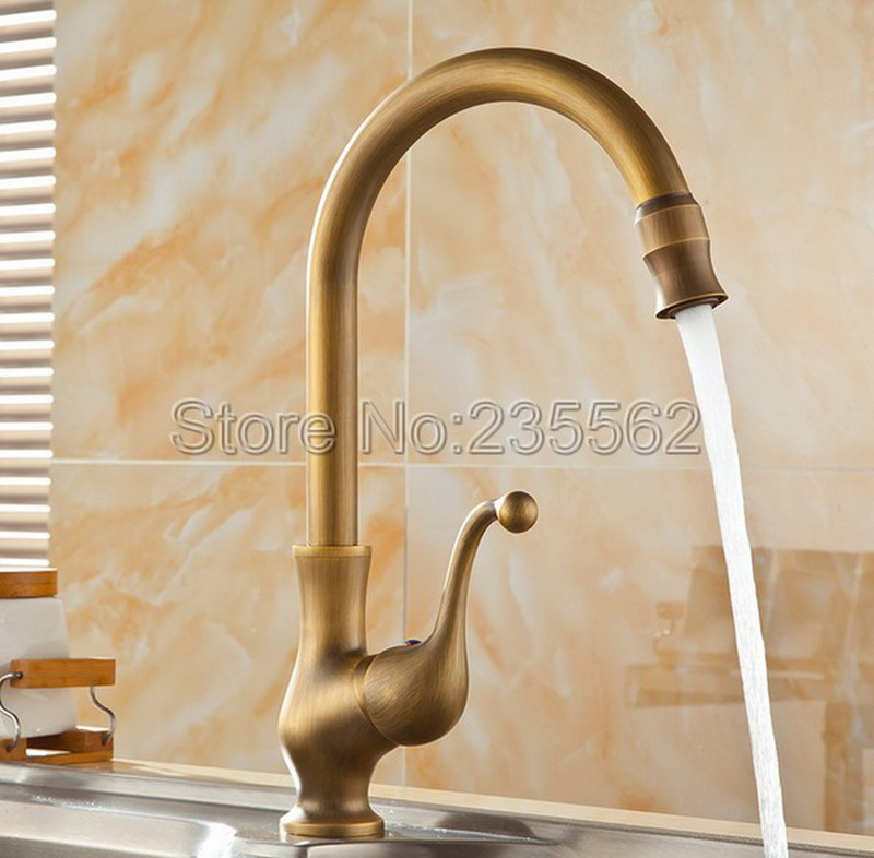 Antique Brass Finish Kitchen Sink Basin Faucet Single Hole Deck Mounted Cold and Hot Mixer Taps lan056Antique Brass Finish Kitchen Sink Basin Faucet Single Hole Deck Mounted Cold and Hot Mixer Taps lan056