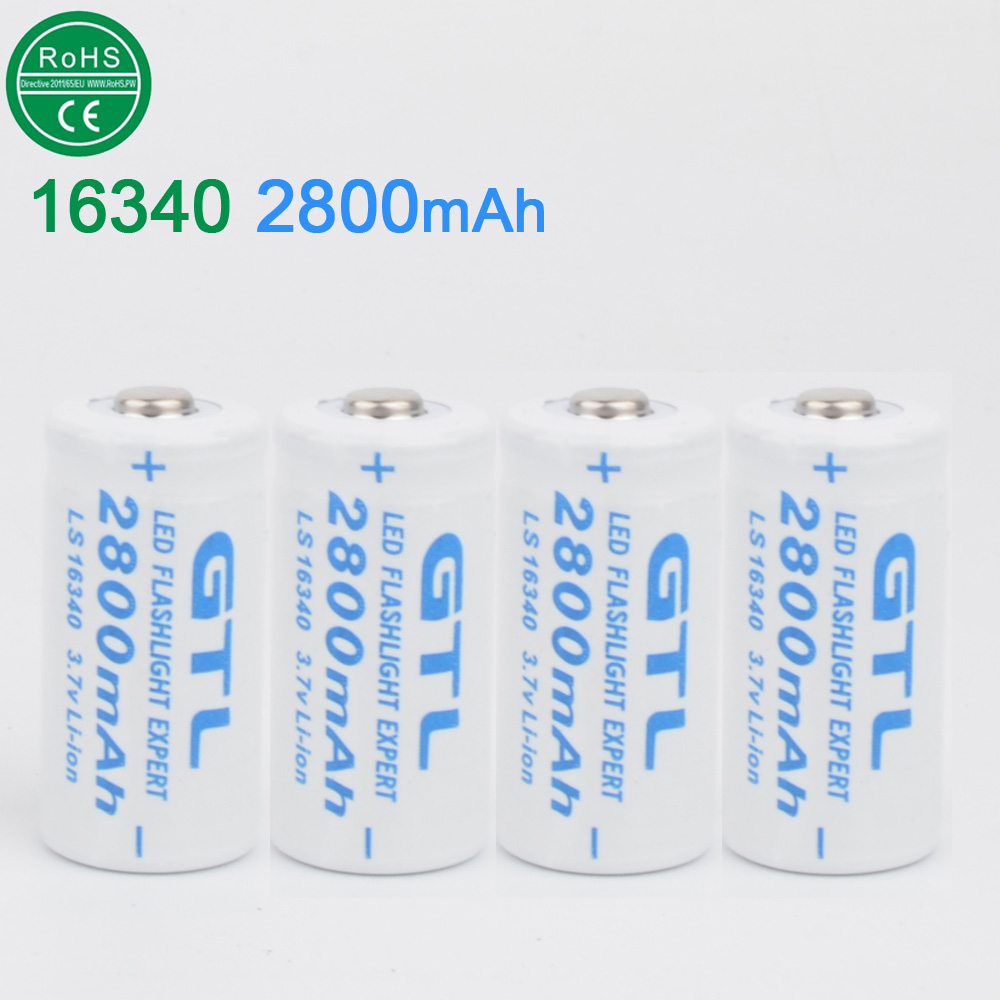 4pcs 16340 rechargeable battery 3.7V 2800mAh li-Lon Baterias wholesale Lithium Batteries For LED Flashlight Headlamp free ship