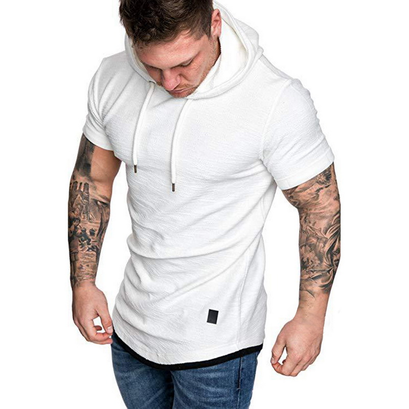 HTB1I7RORCzqK1RjSZFjq6zlCFXal Laamei Men's T Shirt 2019 Summer Slim Fitness Hooded Short Sleeved Tees Male Camisa Masculina T Shirt Slim Tshirt Homme 3XL