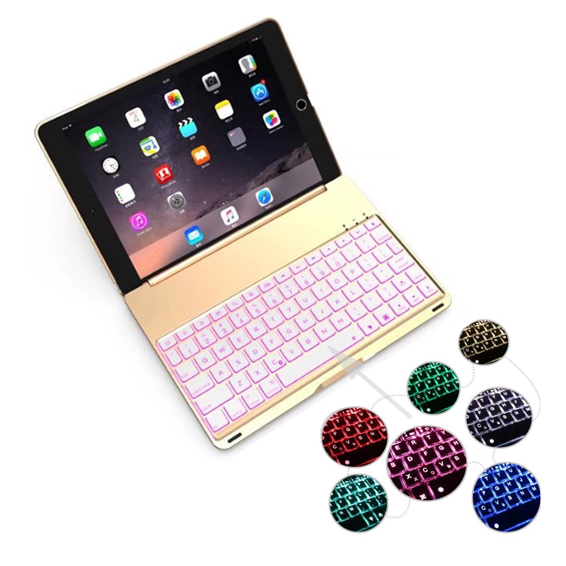 7 Colors Backlit Light Wireless Bluetooth Keyboard Case Cover for iPad 9.7 New 2017 A1822 A1823 Aluminum shell+ABS keyboard aluminum keyboard cover case with 7 colors backlight backlit wireless bluetooth keyboard