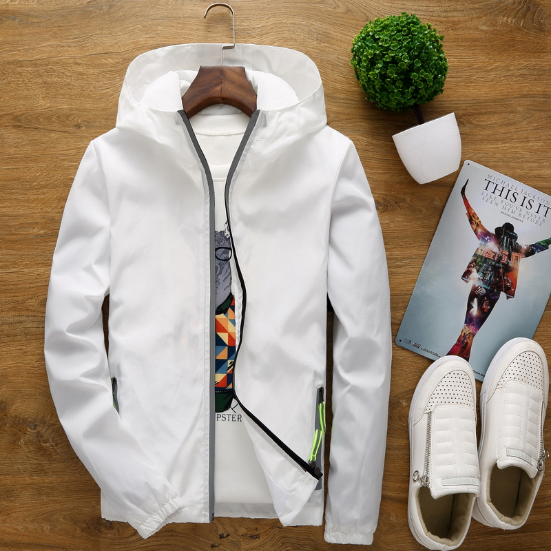New spring and autumn men's jacket men's loose youth beige white loose hooded sweater