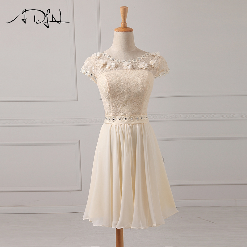 ADLN Simple Short   Bridesmaid     Dresses   Scoop A-line Chiffon Maid of Honor Gown Cheap Wedding Party   Dresses   with Sleeves