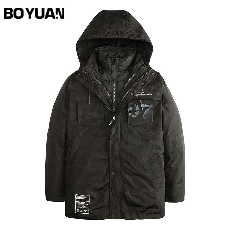 BOYUAN 2017 New Winter Jacket Men Parka 2 Pieces Set Winter Parka Men Hooded Fashion Thick Coat Male Jackets Camo M-3XL HX2782