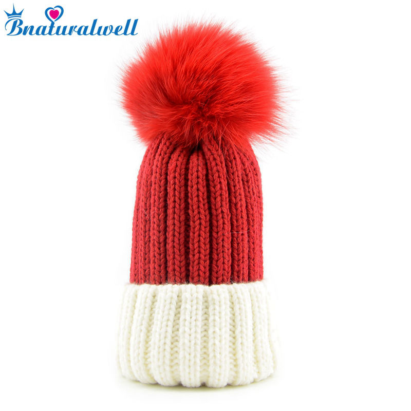 Bnaturalwell New Baby Winter Fox Fur Hat Girls Boys cap with Fox Fur pompoms Ball Child Beanies Cap Infant Knitted beanies H009S