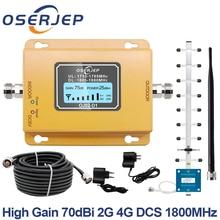 GSM LTE 1800 LCD 70 дБ 2g 4g повторитель сигнала для сотового телефона DCS 1800 МГц Мобильный усилитель GSM Репитер сигнала + Яги/резиновая антенна