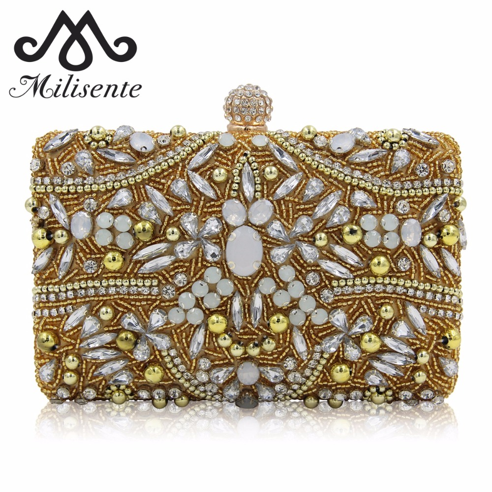 Milisente New Design Luxury Diamond Clutch Ladies Pink Wedding Purses Girls Party Bags Women Gold Evening Bag Top Qaulity newest design evening bags ring diamond clutch chain shoulder bag purses wedding party banquet bag blue gold green red 88621 d