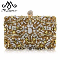 Milisente New Design Luxury Diamond Clutch Ladies Pink Wedding Purses Girls Party Bags Women Gold Evening