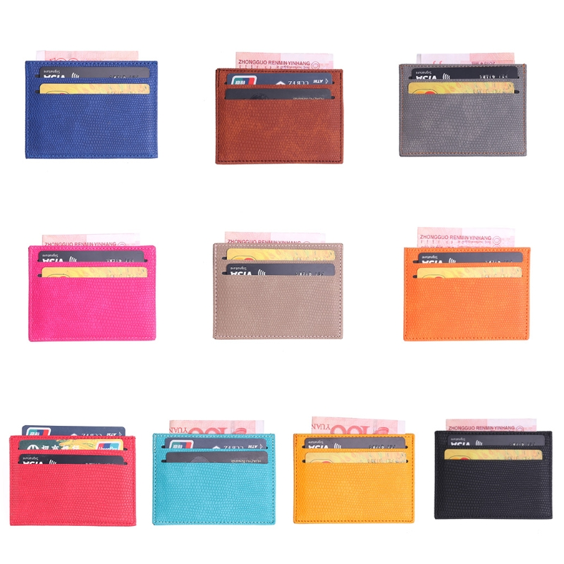 THINKTHENDO 10.6x7.7cm Women Men Colorful PU Leather Bank Card Holder Wallet Slim Credit Card ID Cover Case Bag