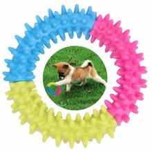 Dog s Toys Pet Traning Products Pets 3 Color Embossment Spinose Ring TPR Rubber Toys for