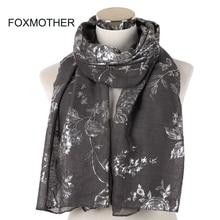 FOXMOTHER 2019 New Design Shiny Navy Pink Grey Foil Sliver Floral Scarf Glitter Hijab Muslim Wrap Echarpe Bufanda Scarves Women