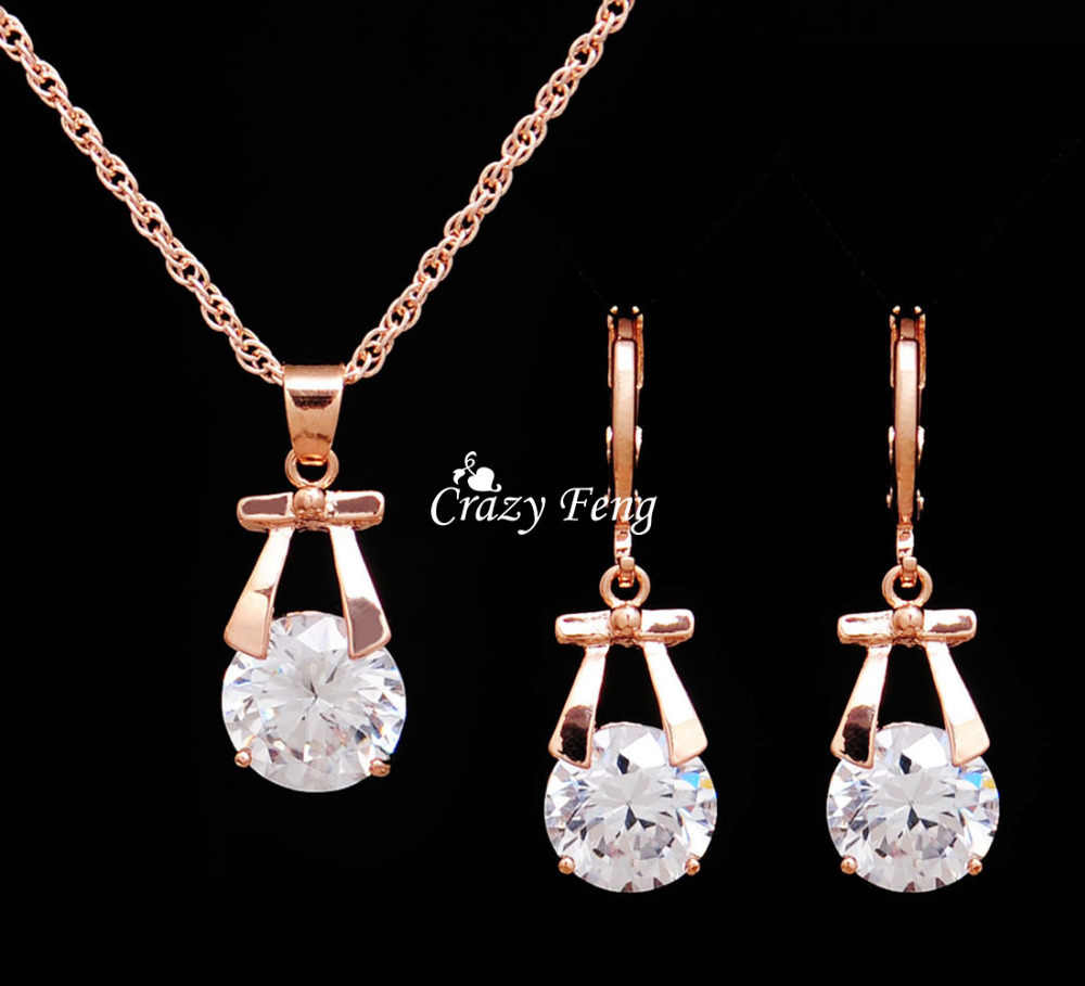 Hot Sale Wedding Jewelry Sets  Gold Color Drop Earrings Necklace For Women Party Set CZ Crystal Jewelry