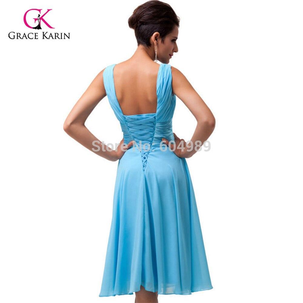 Free Shipping stock Grace Karin Women Fashion Purple Sky Blue Deep V ...