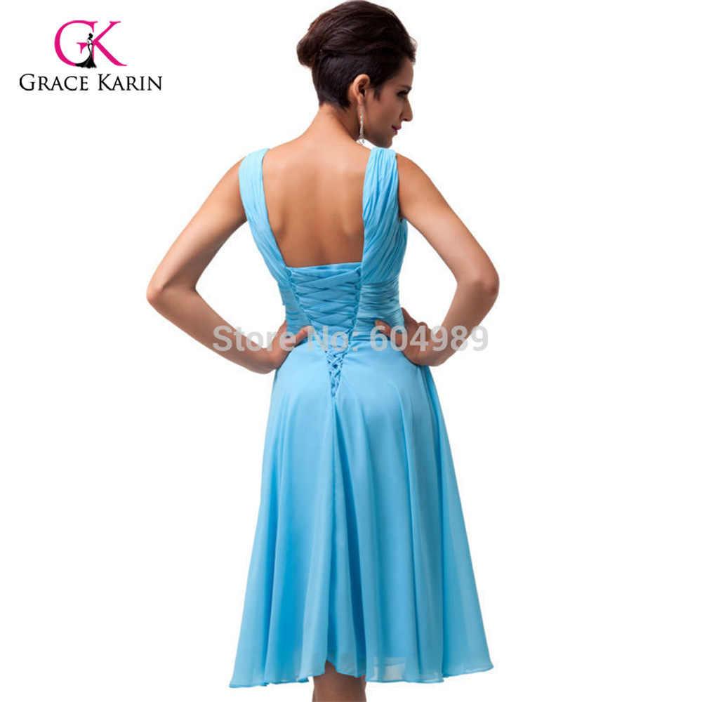 ... Free Shipping stock Grace Karin Women Fashion Purple Sky Blue Deep V  neck Short Evening Dresses ... 1b2a7a907690