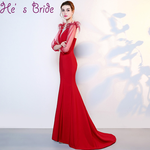 57521c28c71 Evening Dress Elegant Red Sheer Scoop Neck Robe De Soiree Lace Up Back  Mermdi Sweep Train Satin Lace Lllusion Party Prom Dress