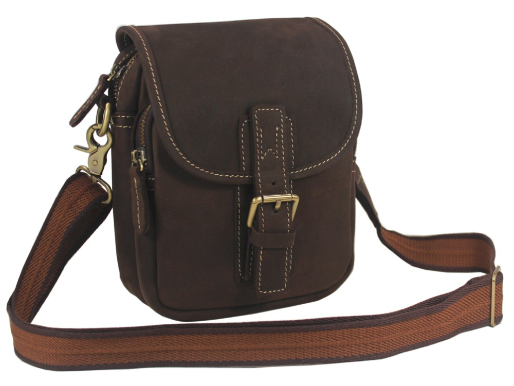 Vintage Crazy Horse Leather Men S Messenger Bag Genuine Shoulder For Man Crossbody Small Sling Casual Brown In Bags From