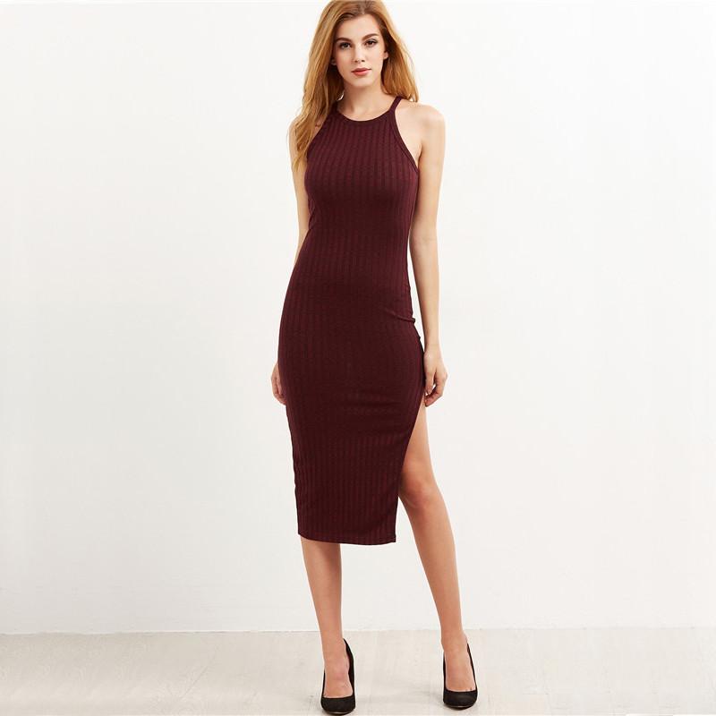 COLROVIE Women Sexy Bodycon Cami Dress Winter Autumn 2017 Women Fall Fashion New Designer Side Slit Ribbed Midi Dress 16