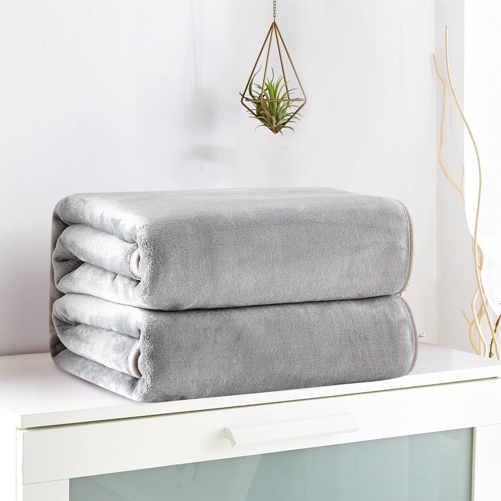 120x200 Bed Solid Color Modern Soft Grey Blue Solid Color Flannel Blanket Home Bed Sofa 120x200 150x200 200x230cm In Blankets From Home Garden On Aliexpress