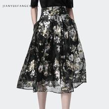купить Pleated Tulle Skirt Vintage Floral Printed High Waist A Line Pocket Plus Size Fashion Women Summer Streetwear Office Skirts Jupe дешево