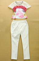 2015 Summer European Style Warfactory Beading Rhinestones Print Short Sleeve Top Slim Leisure Suit Sweatshirts Pants