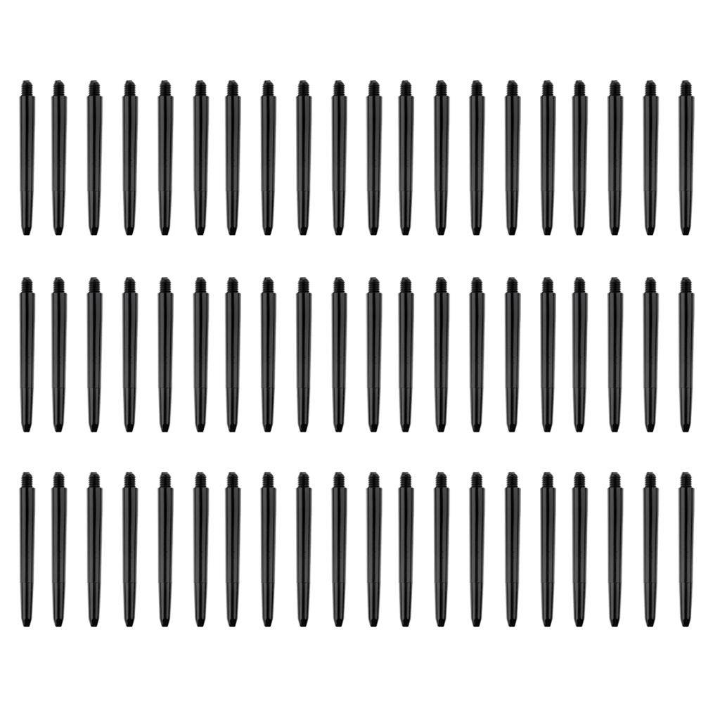 60pcs High Tenacity 52mm 2BA Re Grooved Dart Shafts Stems Throwing Black Darts Accessories