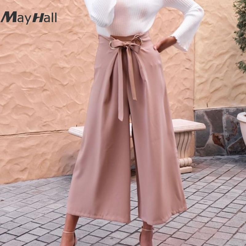 Mayhall Tie up Summer 2018 Sexy Solid   Wide     Leg     Pants   Loose Drawstring High Waist Trousers for Women Korean style Roupas MH258